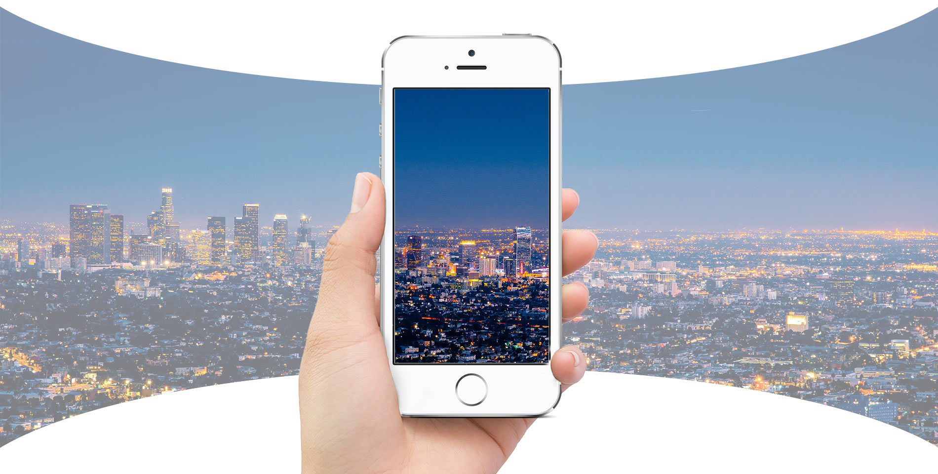 Hand Holding Phone Featuring 360 Virtual Reality Ad Platform City
