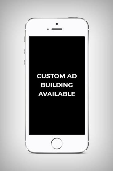 "Phone with Text that Says ""Custom Building Ad Available"""