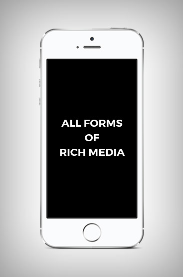 "Phone with Text that Says ""All Forms of Rich Media"""